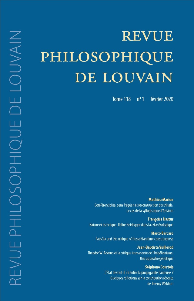 Revue Philosophique de Louvain, Tome 118, paru aux Editions Peeters - On line