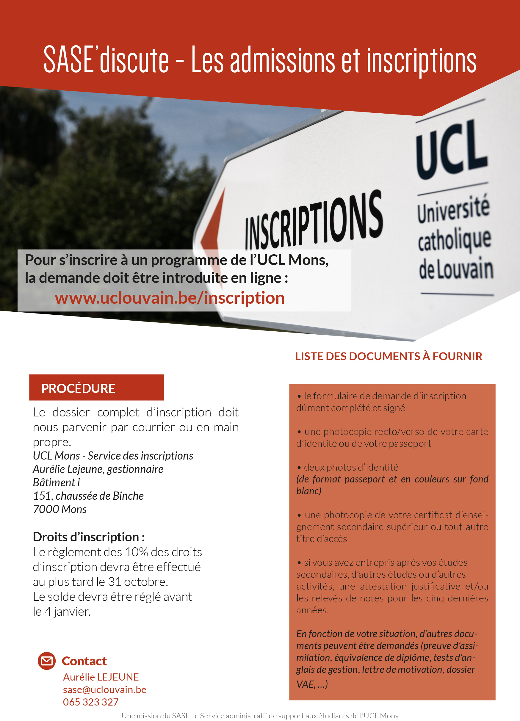 INSCRIPTIONS Université UCL Mons FUCaM