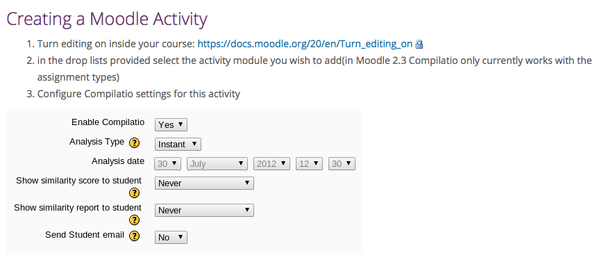 Copie écran Creating a Moodle Activity enabling Compilatio